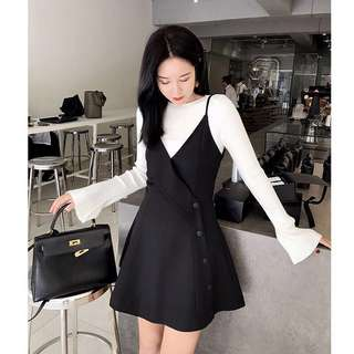 Button Pinafore Dress; formal work office outfit; lady ladies woman female girls women; ulzzang Korean kpop jpop; high waist; trendy