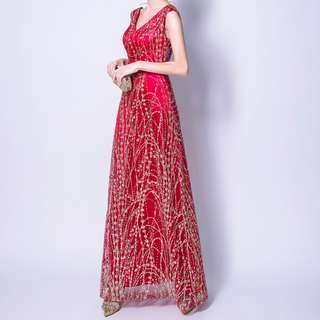 Gold and red evening gown with glitz