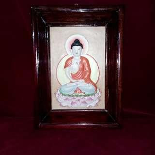佛祖释迦牟尼坐莲瓷浮雕塑像