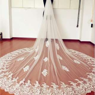 Cathedral wedding veil with lace (2tier with comb, 3.8m)