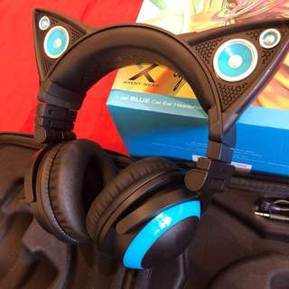 Brookstone blue Cat ear headphones & speaker (lights up)