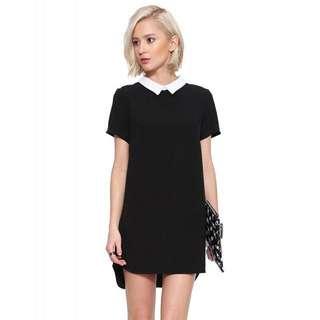 (Instocks) haoduoyi white collar black dress