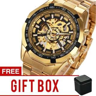 Winner / Forsining Men's Hollow Engraving Automatic Skeleton Stainless Steel Watch | Brand New | Cash On Delivery