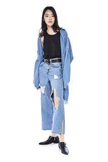 The Editor's Market Wide Leg Knee Ripped Denim Jeans