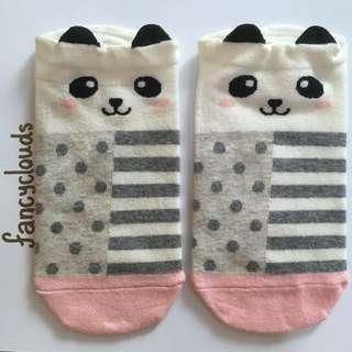 Panda ankle socks bear,ears,instocks,ulzzang,cute,children,kids,adult,pink,birthday present gift for her girl young
