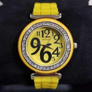 Diamond bezel yellow watch for ladies