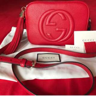 im selling Authentic Gucci disco soho sling red!
