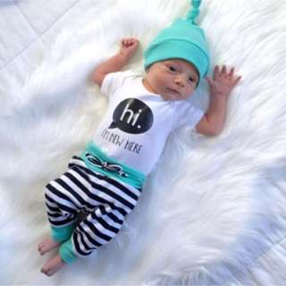 Newborn Baby Boys Outfit Clothes Set 3Pcs