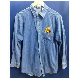 (9成新)小熊維尼牛仔襯衫外套