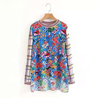 European and American style floral Plaid print hit color round neck collar loose long-sleeved shirt