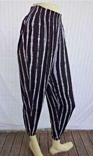 Black/Dark Grey Striped Drawstring Pyjama Pants