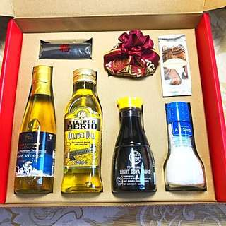 Gift pack: firewood, rice, oil, salt, sauce, vinegar & tea