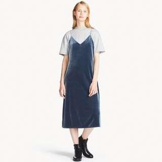 Camisole Blue Velvet Dress