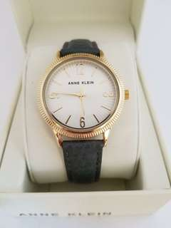 Anne Klein Women's Gold Tone and Grey Leather Watch, 36 mm.