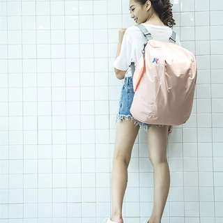 Peach Pink Foldable Backpack / Sling