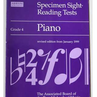 Music book :  Specimen Sight - Reading Tests ( Grade 4 )