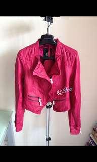 大熱人氣款 全新 100%正品 Bauhaus旗下 80 /20 品牌修腰款 biker 真羊皮皮褸  桃紅色