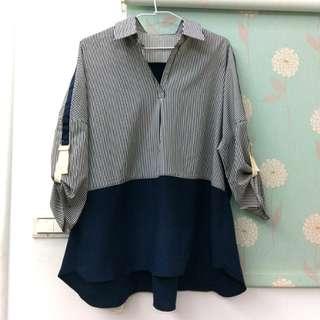 (降)韓國深藍色條紋襯衫 【#換季五折】