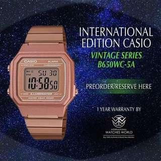 CASIO INTERNATIONAL EDITION VINTAGE SERIES ROSE GOLD B650WC-1B
