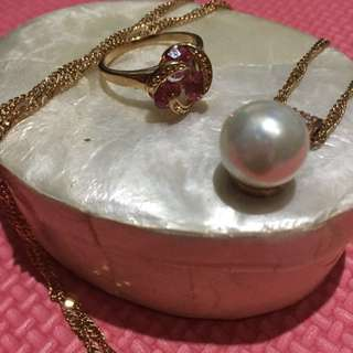 Pearl Necklace with ring (fashion jewelries)