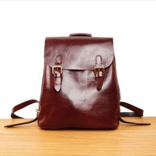 PO Real leather vintage style backpack