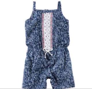 *12M* Brand New Carter's Floral Embroidered Romper For Baby Girl