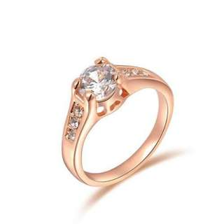 玫瑰金獨鉆簡約戒指/Rose Gold Diamond drill simple ring