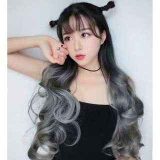 Ombre black to Ash Grey U Shape Hair Extensions Long Wavy Curls