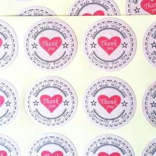BNIP 120PCS/pack Thank You Self Adhesive Kraft Paper Stickers