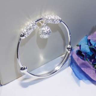 [Ready Stock][Adjustable]Hydrangea design bangle, 999 pure silver, free size for adult