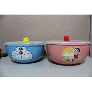 哆啦A夢陶瓷方碗 陶瓷碗 碗 490ml大容量 (附蓋子)