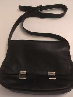 Authentic Prada black Leather messenger bag