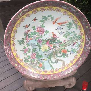 Antique Chinese decorated dish bowl with stand