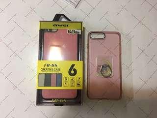 全新awei 全方位軟膠保護套 加 9成新twin star支架保護套 iphone 6/6s/7/8 plus大機合用