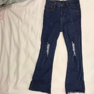 Dark denim bell bottom jeans