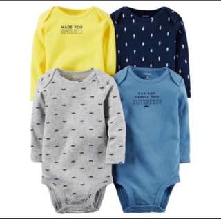 *6M* Brand New Carter's 4-Pack Long Sleeve Bodysuits For Baby Boy
