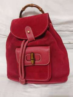 Rare Gucci Bamboo Mini backpack in red suede