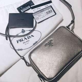 Prada Silver Camera Bag