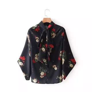 European and American style floral print collar tie embellish blouse long-sleeved shirt