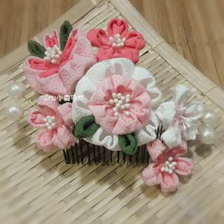 🚚 【mu小鹿手作】浴衣/和服 日本縐布縮緬和風布花髮飾 (櫻花/粉)