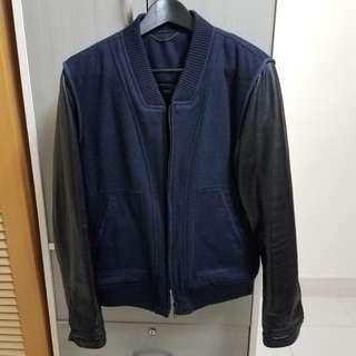 韓式 真皮袖棒球衣IT Leather Biker Jacket Denim Suede 絨