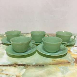 Vintage Fire King Jane Ray Cup and Saucer - Jadeite