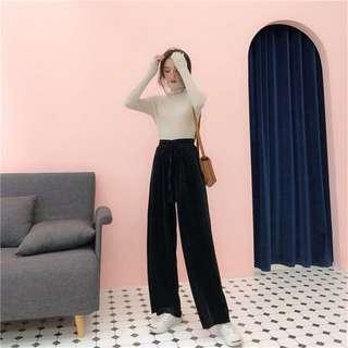 現貨💐絲絨材質寬褲