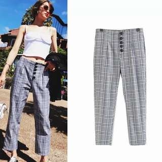 European year spring and summer check pattern retro five buckle nine suit pants casual pants
