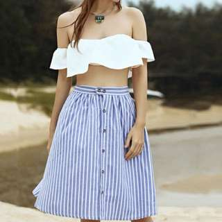 PO - Striped A-Line Blue Single-Breasted Skirt