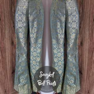Songket Bell Pants (Dusty Blue)