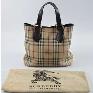 AUTHENTIC BURBERRY SIGNATURE CHECKERED MEDIUM SHOULDER TOTE BAG - IN LEATHER