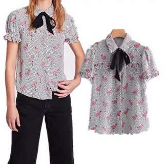 Inspired Zara Printed Blouse With Bow Contrasting Tie bow