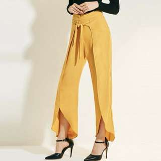 PO - New Yellow Green Loose Wide Ruffle Full Leg Long Fashion Vacation Spring Summer Women Pants