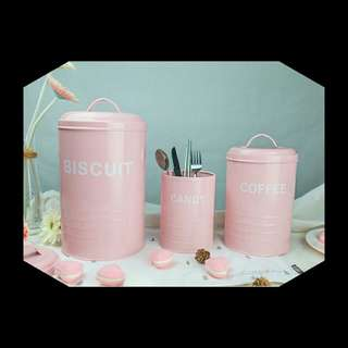 Vintage metal storage Canister Set